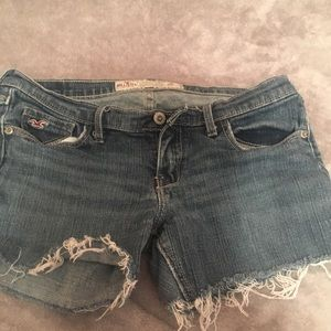 Hollister size 3 distressed, cut-off, jean shorts.